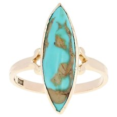 Vintage Turquoise Ring - 12k Yellow Gold Size 5 Marquise Cabochon