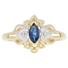 Sapphire Ring - 10k Yellow Gold Diamond Accents Marquise Brilliant .33ct