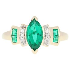 Synthetic Emerald Ring - 10k Yellow Gold Diamond Accents Marquise 1.50ctw