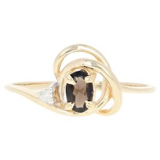 Smoky Quartz & Diamond Bypass Ring - 14k Yellow Gold Oval Brilliant .24ctw
