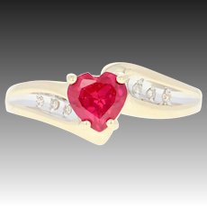 Synthetic Ruby & Diamond Bypass Ring - 10k Yellow Gold Heart Brilliant 1.02ctw