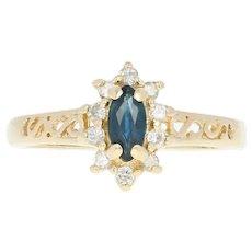 Sapphire & Diamond Star Burst Ring - 14k Yellow Gold Open Cut Marquise .50ctw