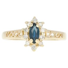 Sapphire & Diamond Star Burst Ring - 14k Yellow Gold Open Cut Marquise .50ctw