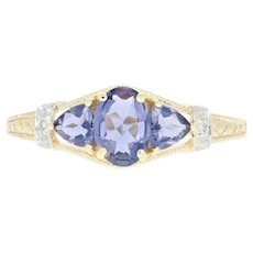 Iolite & Diamond Ring - 10k Yellow Gold Oval Cut 1.18ctw