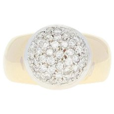 Diamond Cluster Ring - 14k Yellow Gold Round Brilliant 1.00ctw