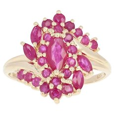 Ruby Cluster Bypass Cocktail Ring - 14k Yellow Gold Marquise Brilliant 1.60ctw