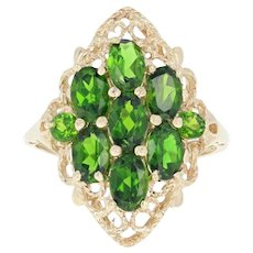 Diopside Cluster Open Cut Cocktail Ring - 10k Yellow Gold Oval Brilliant 4.50ctw