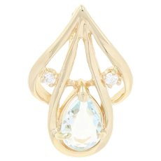 Aquamarine & Diamond Pendant - 14k Yellow Gold Pear Brilliant .68ctw