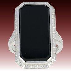 Art Deco Onyx Ring - 14k White Gold Vintage Milgrain Size 3 3/4