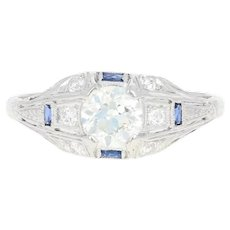 Art Deco Diamond & Synthetic Sapphire Ring -Platinum & 18k Gold European 1.01ctw