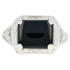 Art Deco Onyx Openwork Ring - 14k White Gold Vintage Millgrain Floral Detail