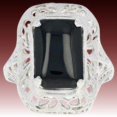 Art Deco Ostby & Barton Onyx Filigree Ring - 10k White Gold Vintage Openwork