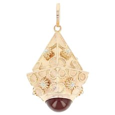 Ornate Carnelian Fob Pendant - 18k Yellow Gold