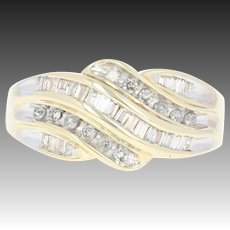 Tiered Bypass Diamond Ring - 10k Yellow Gold Round Brilliant Baguette .50ctw
