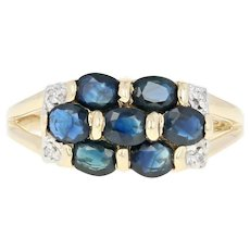 Sapphire Cluster Ring - 10k Yellow Gold Diamond Accents Oval Brilliant 1.20ctw