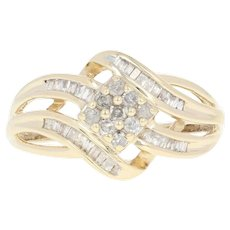 Composite Solitaire Diamond Bypass Ring - 10k Yellow Gold Baguette .24ctw