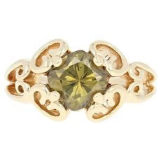Andradite Garnet Ring - 14k Yellow Gold Size 4 1/4 Solitaire 1.60ct