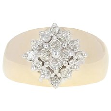 Diamond Cluster Ring - 10k Yellow Gold Size 7 1/4 Round Cut .50ctw