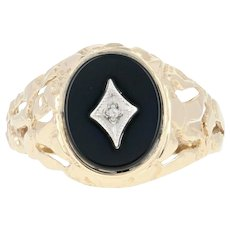 Men's Onyx Ring - 10k Yellow Gold Diamond Accent Nugget Texture Size 10