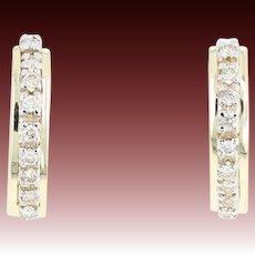 Diamond J-Hoop Earrings - 14k Yellow Gold Pierced Round Brilliant .50ctw