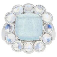 Aquamarine & Moonstone Halo Cocktail Ring - 14k White Gold Cabochon 6.99ctw