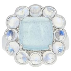 Aquamarine & Moonstone Halo Cocktail Ring - 14k White Gold Cabochon 6.99ctw