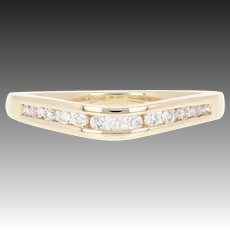 Curved Diamond Wedding Band- 14k Yellow Gold Ring Round Brilliant Channel .10ctw