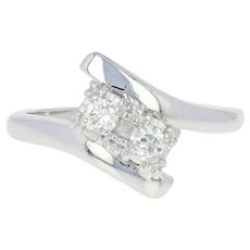 Vintage Diamond Bypass Ring - 14k White Gold Old European Transitional .18ctw