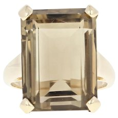 Smoky Quartz Cocktail Ring - 14k Yellow Gold Solitaire 14.80ct