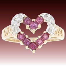 Ruby & Diamond Heart Ring - 14k Yellow Gold Step Cut Square .50ctw