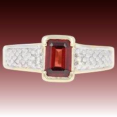 Garnet Ring - 10k Yellow Gold Diamond Accents 1.00ct