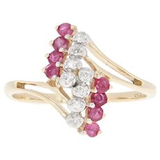 Ruby & Diamond Bypass Ring - 10k Yellow Gold Round Brilliant .43ctw