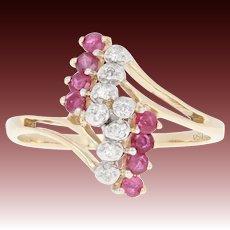 Ruby & Diamond Bypass Ring - 10k Yellow Gold Round Brilliant .43ctw