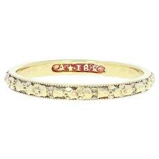 Art Deco Women's Wedding Band 18k Gold Vintage Orange Blossom Design Ring Size 8