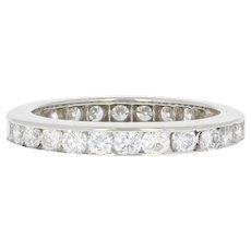 Diamond Wedding Band - Platinum Ring Size 4 1/4 - 4 1/2 Round Brilliant 1.23ctw