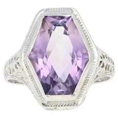 Art Deco Amethyst Ring - 14k White Gold Filigree 6 1/2 Vintage Solitaire 4.96ct