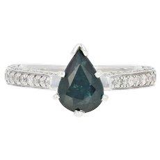 Sapphire & Diamond Engagement Ring - 14k White Gold Pear Cut 1.61ctw