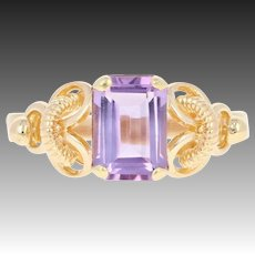 Vintage Amethyst Solitaire Ring - 18k Yellow Gold Metalwork Detail 1.00ct