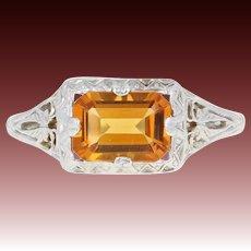 Art Deco Citrine Solitaire Ring - 14k White Gold Vintage Milgrain Openwork .84ct
