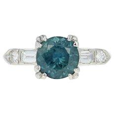 Vintage Montana Sapphire & Diamond Engagement Ring - 900 Platinum Round 2.27ctw