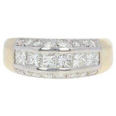 Men's Diamond Ring - 14k Yellow Gold Princess Round Brilliant 2.16ctw