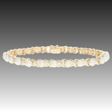 """Cultured Pearl Link Bracelet 7"""" - 10k Yellow Gold Box Clasp"""