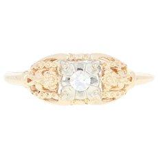 Art Deco Diamond Engagement Ring - 14k Yellow Gold Vintage Copley Size 6 1/4