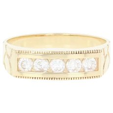 Cubic Zirconia Band Ring - 10k Yellow Gold Nugget Texture Men's Size 10 1/2