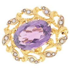 Edwardian Amethyst & Seed Pearl Halo Brooch - 14k Gold Antique Pin Oval 6.40ct