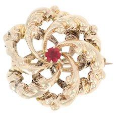 Edwardian Interlocking Circles Brooch - 14k Yellow Gold Red Glass Antique Pin