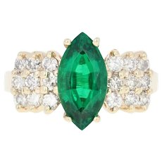 Synthetic Emerald & Diamond Ring - 14k Yellow Gold Marquise Brilliant 2.30ctw
