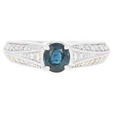 Sapphire & Diamond Engagement Ring - 14k White Gold Size 6 1/2 Milgrain 1.09ctw