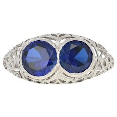 Art Deco Synthetic Sapphire Ring - Platinum Vintage Filigree 2.76ctw
