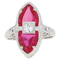 Art Deco Belais Diamond & Synthetic Ruby Ring - 14k Gold Vintage European .20ct